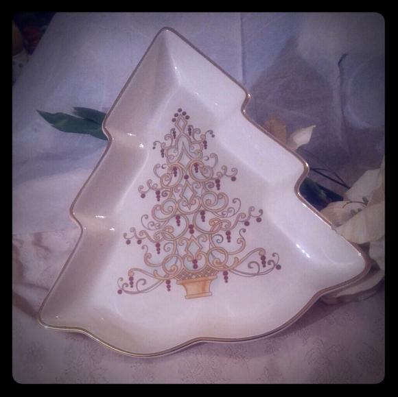 Lenox Golden Christmas Tree Plate